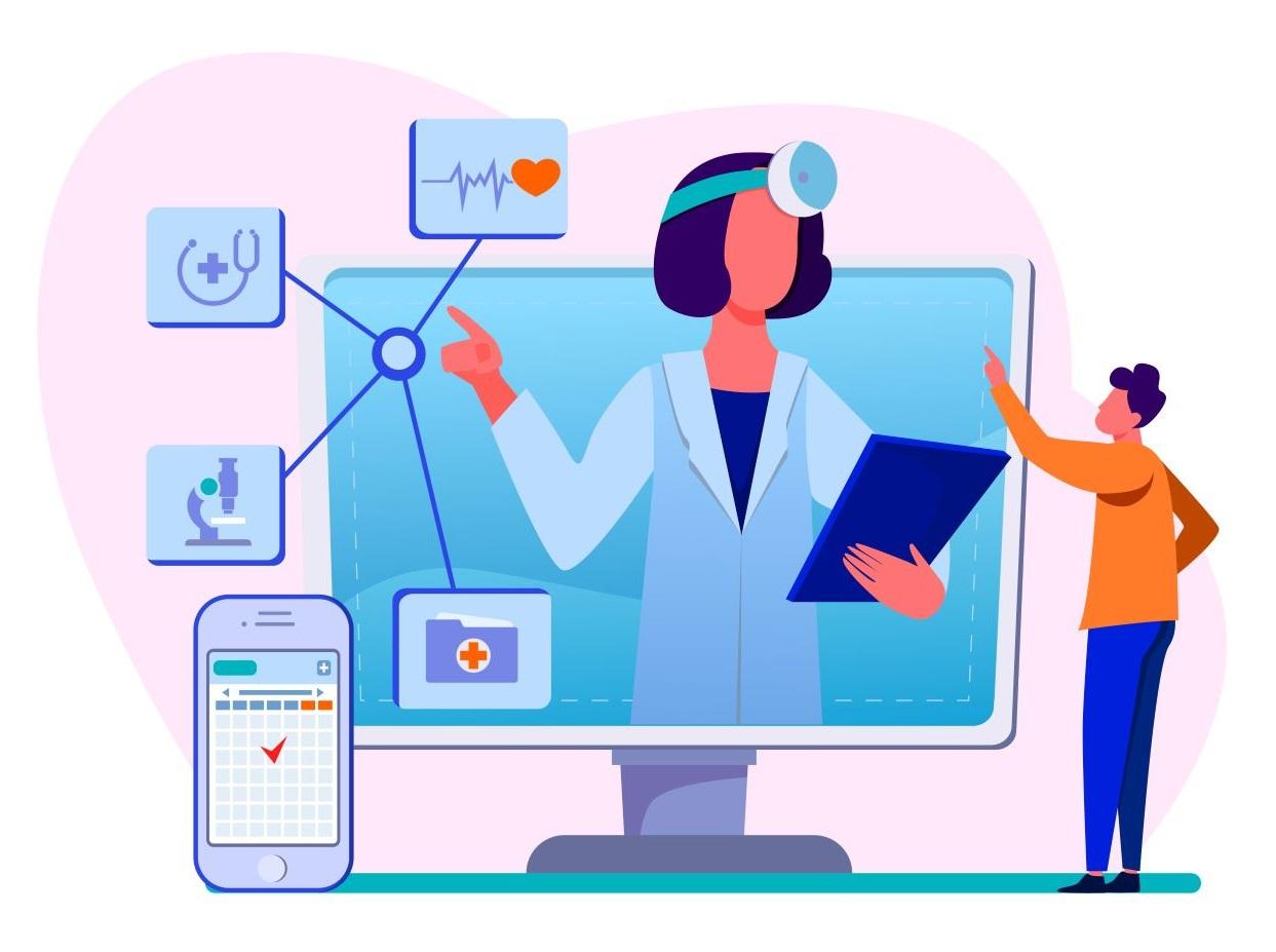 Ilustración chat médico online